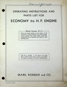 Sears, Roebuck and Co. Operating Instructions and Parts list for Economy 3.5H.P. Engine, Model Number 417.3