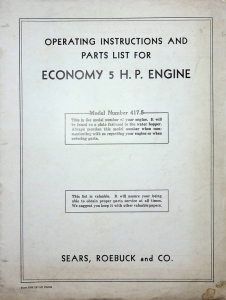 Sears, Roebuck and Co. Operating Instructons and Parts list for Economy 5. H.P. Engine, Model Number 417.5