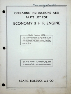 Sears, Roebuck and Co. Operating Instructions and Parts List for Economy 5. H.P. Engine, Model Number 417.5
