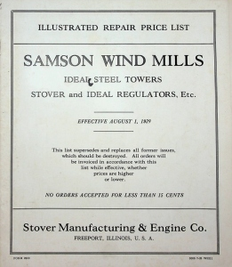 Stover Manufacturing & Engine Co. Illustrated Repair Price List, Samson Wind Mills, 1929