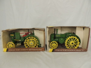 1/16th Ertl John Deere (2)-Collector Edition wide front tractors on steel w/fenders