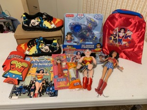 Wonder Woman Collectible Lot - Shoes And Pez Dispenser