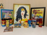 Wonder Woman Collectible Lot - Framed Pictures And Cups