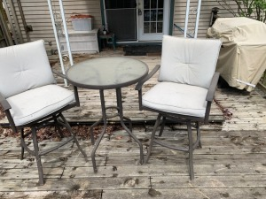 Patio Bar Height Chairs And Table Lot