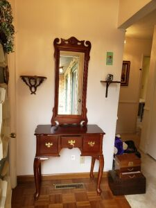 WOODEN ENTRY WAY TABLE WITH MIRROR
