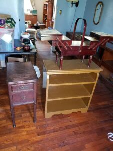 Bookcase, Small Table, And Jewelry Box