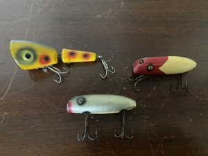 THREE SOUTH BEND LURES - WOOD
