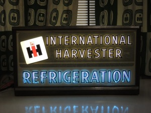 International Harvester Refrigeration light-up sign w/metal frame