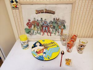 Wonder Woman Collectible Lot - Clock, 1977 super friends And Thermos