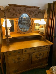 Very nice oak dresser and vanity