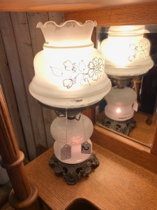 Pair of frosted, footed lamps