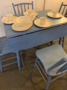 Small blue table with chairs
