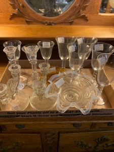 Flat of clear glassware