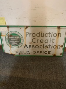 Double sided Porcelian National Credit Association sign. Condition is rough.