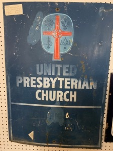 Single sided Tin United Presbyterian Church sign.