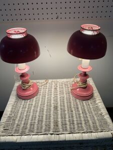 Pair of pink lamps
