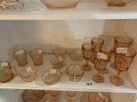 Pink depression glass and Amber Fostoria