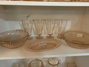 Pink depression glass and other glassware