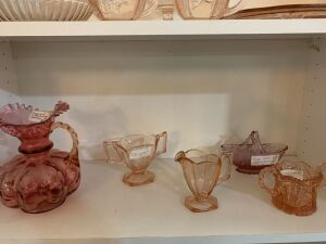 Pink depression glass, Fenton and other glass