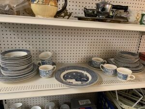 37 piece Monarch Blue and White China set