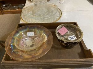 Wood Tray and Glassware