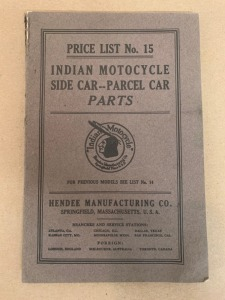 1915 Indian Motorcycle Side Car -- Parcel Car Parts Price List No. 15