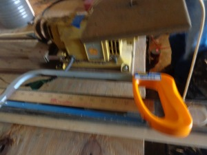 4' level, dowel rods, had saw, yard stick
