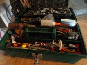 "1/4"" sockets, green tool box and contents"