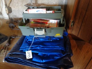 (3) small tarps and tackle box