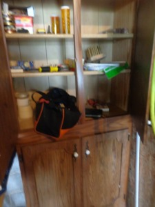 "Wooden storage cabinet, 32"" x 6', and contents, including drill bits, etc."