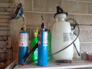 Lawn sprayers and propane heater