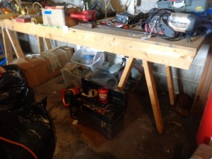 (2) saw horses and plywood work bench, 10' x 3' hp, 120