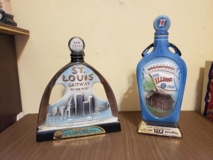 (2) Vintage Liquor Bottles - Gateway To The West And Illinois