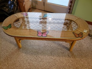 Glass Top Wicker Coffee Table