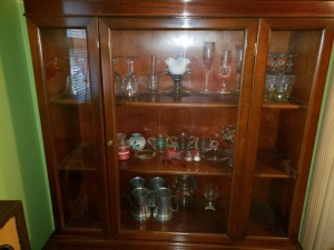 Cabinet Contents Lot - Wine Glasses And Home Décor