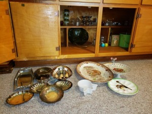 Cabinet Contents And Serving Dishes Lot