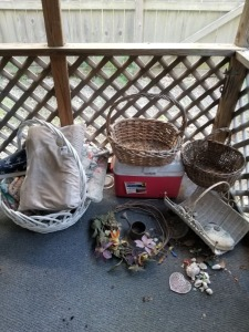 WICKER BASKET AND COOLER  AND PILLOW LOT