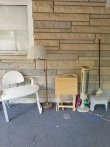 TABLE LAMP FAN AND CHAIR LOT
