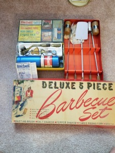 VINTAGE BENZ O MATIC TORCH KIT AND DELUX 5 PIECE BBQ SET