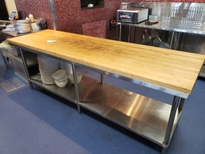 8 FT Stainless Table With Wood Top