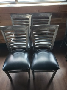 (4) Restaurant Chairs - Polished With Black Cushions