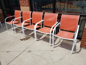 (5) White/Orange Outdoor Chairs
