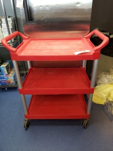 Rubbermaid Red Rolling Cart