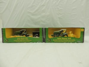 1/16th Ertl John Deere (2)-lawn and garden tractor sets