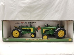 1/16th RC2 John Deere 50th Anniversary Collector Set of (2)-tractors w/rear wheel weights