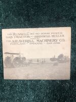 "The ""Russell"" 30-60 HP Gas Tractor and Birdsell Huller Fold Out Post Card"