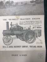 "The ""Russell"" 30-60 HP Gas Tractor and Birdsell Huller Fold Out Post Card - 3"
