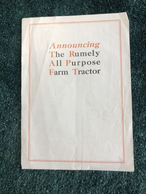 The Rumely All Purpose Farm Tractor Fold Out Brochure