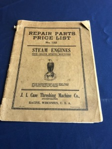J.I. Case Side crank spring mounted Steam Engines Repair Parts Price List