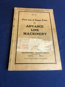 Advance Line Machinery Price List of Repair Parts